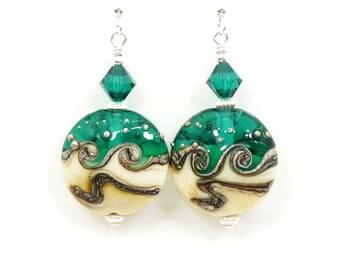 Green Wave Earrings, Lampwork Earrings, Glass Earrings, Glass Bead Earrings, Bead Earrings, Lampwork Glass Earrings, Lampwork Jewelry