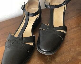 Vintage Salvatore Ferragamo black leather T-strap sandals (size 8.5)