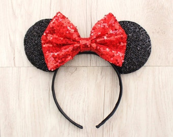 Red Disneyland Ears, Minnie Mouse Ears, Mickey Mouse Ears, Minnie Ears, Mickey Ears, Disney Ears, Red Sequin Bow, Disneyland Ears, Mickey
