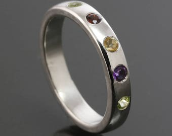 Mother's Ring / Grandmother's Ring / Family Ring. 5 Birthstones. Genuine Gemstone. Sterling Silver. Natural Stone. Flush Setting.
