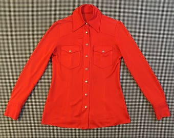 1970's, heavy, silky, Western style, snap front shirt, in red-orange, Women's size Small