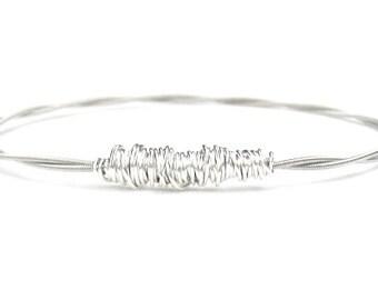 Bangle Bracelet // Thin Silver Bracelet // Eco-Friendly Jewelry // Stacking Bangle // Guitar String Bracelet // Bridesmaid Gift // Music