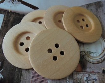 2Pcs Large  60mm Unfinished Natural Wood button 4holes no varnish  for your handmade   (W064)