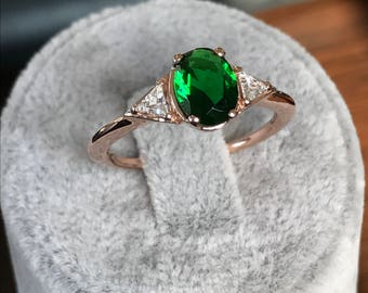 Rings, Solitaire Ring, Solitiare Triangle Ring, Solitiare Engagement Ring, Solitiare Emerald Ring, Personalized Solitiare Ring, Silver Rings