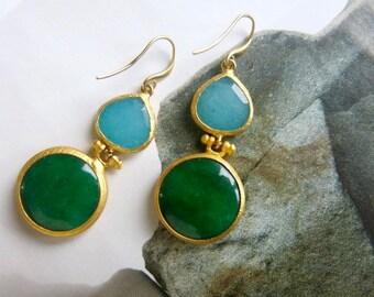Green And Light Blue Jade Drop Earrings Gemstone Earrings Boho Glam Dangle Earrings Women Gift Boho Chic