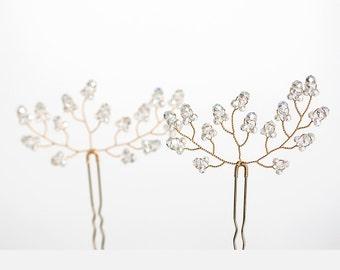 8222_White wedding hair pins, Crystals hair pins, Elegant hair pin gold, Bride hair pins, Bridal hair accessory, Transparent crystals pins