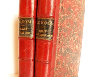 2 Huge Antique French Leather Bound Books Early 1927 Volumes of Noël Magazine Cherry Red SET 2