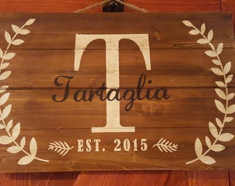 Hand Painted Family Name Sign with Established Date