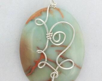 Aqua Terra Jasper,   Wire Wrap Pendant,  Handmade, Wire Pendant, pale green, Sterling Silver, Pendant, Wire Wrapped Pendant,