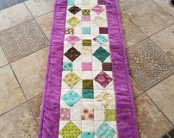 Sweet Summer Quilted Tablerunner Handmade Table Decor
