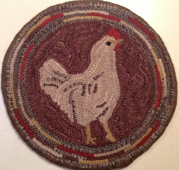 """Rug Hooking Pattern for """"Hetty"""" Chair Pad, on Monks Cloth or Primitive Linen, P109"""