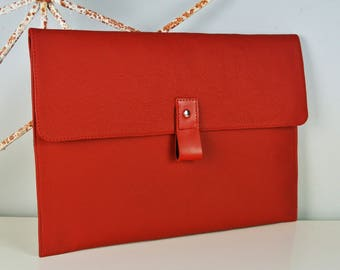 "Red Leather 13"" Macbook Air Case - Can be Personalised"