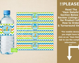 Dinosaur Water Bottle Labels -  Dinosaur Water Bottle Wraps - Chevron Bottle Labels- Dinosaur Party Decor - Emailed & Shipped