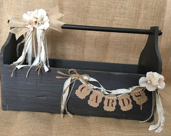 Very Large Wedding Card Holder, Money Holder, Money Box, Wedding Suitcase, Rustic Wedding, Wedding Tool Box Card Holder
