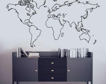 world map decal world map mural wall art decal map wall art