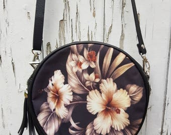 Taupe Tropical Hibiscus Handbag - Jungle Floral Flower Bag Clutch