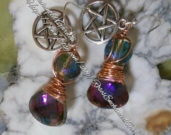 Crystal Pentacle Earrings Ooak