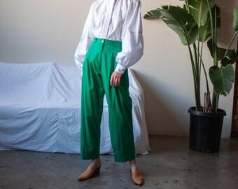 SPORT NANCEL paris green cotton pleated khakis / green baggy trousers / FR 40 / 26 waist / 3663t / B15