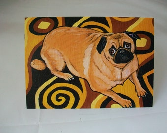 Pug Dog Note Greeting Card