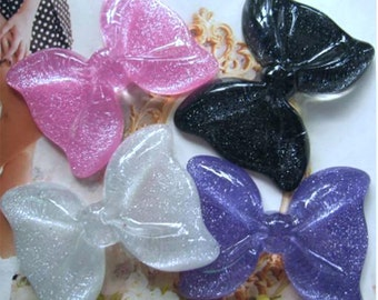 Glitter Sparkle Big Bow  - You choose color - pink lilac black white  Plastic Kawaii Decoden Resin Flatbacks Cabochons GS40118