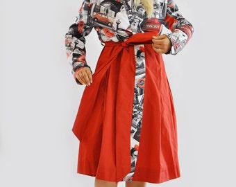 Red Print Trench coat/Print Raincoat/Red Dress Raincoat/French raincoat/Red Extravagant Trench Coat Woman red Print London Raincoat/R1281