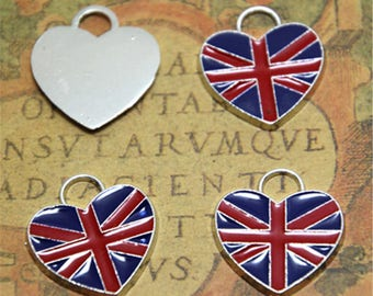 8pcs UK flag Enamel Charms Silver tone united kingdome flag Charm pendant 19x22mm ASD2253
