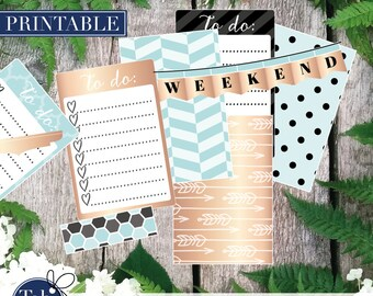 Printable stickers for Mambi Happy Planner in blue, rose gold, copper and black. Weekly kit.