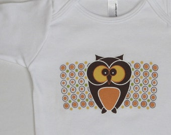 Baby One-Piece featuring Funky Owl - white long sleeve