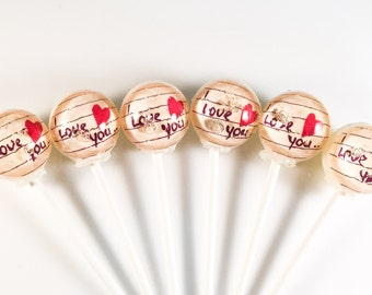 "6 ""I Love You..."" Hard Candy Lollipops"