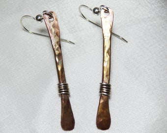 Hammered Silver Stick Earrings with Coil