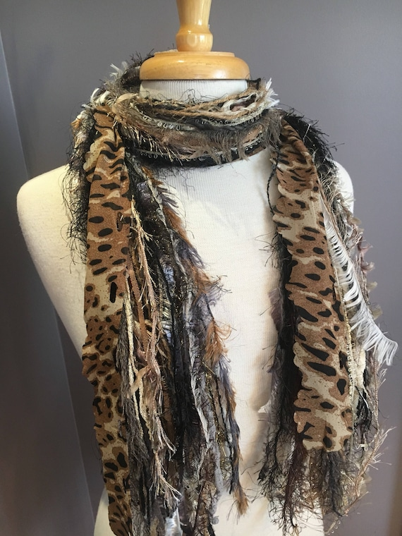 Fringie in Cheetah, All Fringe Scarf, animal print fringe scarf, fur, fringe fashion, Boho scarf, gypsy scarf, taupe brown