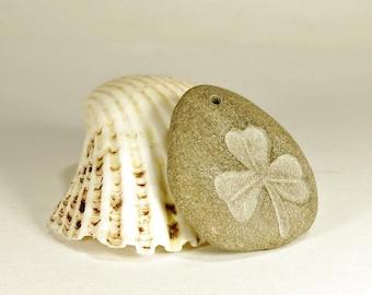 Beach Pebble Pendant with Engraved Shamrock - Top Drilled Beach Stone Shamrock Pendant Natural Pebbles