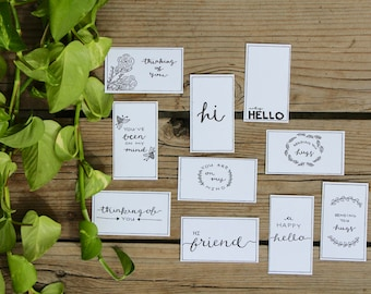 Thinking of You Gift Tags Printable, Handwritten Hello, Color Yourself - 10 Count