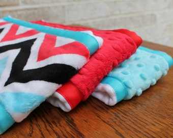 Set of 3 Coordinating Minky Burp Cloths - Red, Turquoise and Black Chevron with Dimple Dot Minky and Coordinating Grossgrain Ribbon edging