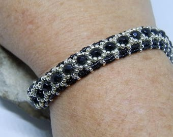 Black and silver hand-woven bracelet