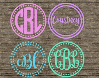 Double circle/polka dot monogram decal/sticker