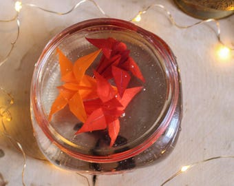 Paper Flowers - Origami Flowers - Valentines Day - Valentines Day Gift - Mason Jar Decor - Paper Weight Flowers - Paper Weight Glass - art