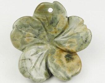3D Hand Craft Ocean Jasper Flower Pendant Bead - 27x27x6mm