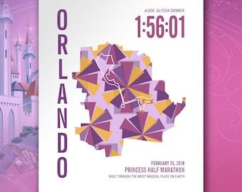 Princess Half Marathon Personalized Course Map Poster