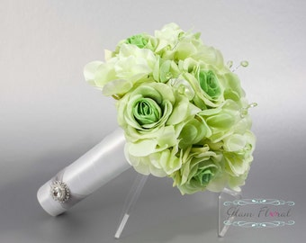Green Wedding Bridal Bouquet. Real Touch Flowers hydrangeas, roses, crystals Small Bouquet. Bride, Bridesmaid, MOH. Tea Rose Collection