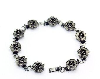 Rose Clasp Bracelet in Silver - Silver Rose Bracelet, Silver Flower Bracelet, Valentine's Gift, Anniversary Gift, Mother's Day Gift