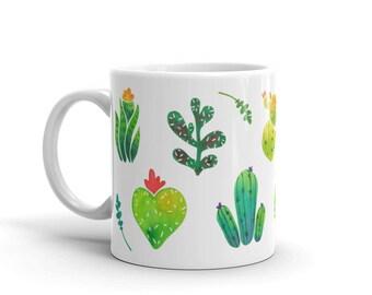 Cactus Mug, Coffee Mug, Floral Mug, Watercolor Art Mug, Birthday Gift, Thank You Gift, Kitchen Decor, Cacti Mug, Gift for Bridesmaids, Cups