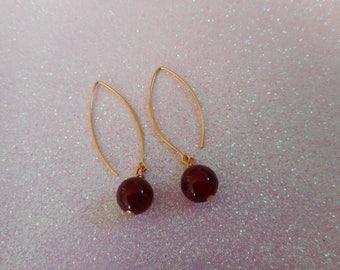 Carnelian gold plated earrings