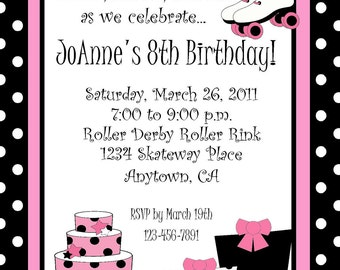 POLKA DOT ROLLER Skate Birthday Party Invitations/ Personalized/ Set of 10/ Girly Hot Pink and Black