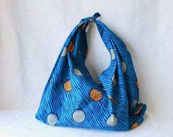 African wax print cotton furoshiki tote bag