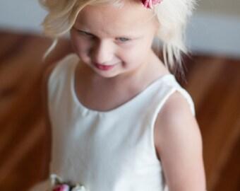 The Sissinghurst Headband: Flower girl hair band, flower girl hairpiece with roses