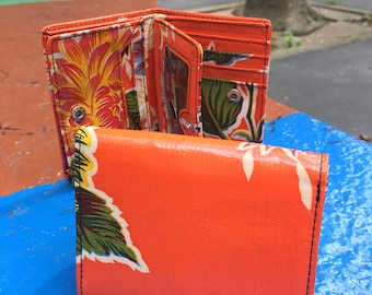 Orange Floral Oil Cloth Trifold Wallet, Vinyl Women's Wallet, Credit Card Case