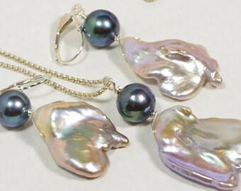 Black Pearl and Keshi Pearl Irregular Necklace Set Black Pearl Keshi Pearl Luxury AAA Pearl Wedding Jewelry Birthstone June