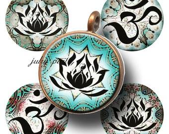 OM, LOTUS Meditation Symbol 1x1 Circle Tiles, Printable Digital Images, Cards, Gift Tags, Scrabble Tiles, Yoga, Meditation