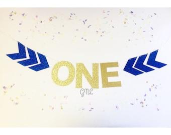 "Arrow ""ONE"" high chair banner, 1st birthday banner, gold and pink, arrow, high chair banner, blue and gold."